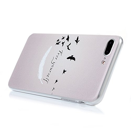 iPhone 7 Plus Hülle Case, iPhone 7 Plus Tasche YOKIRIN Hart PC Schutzhülle Handyhülle Slim Fit Hartplastik Voll Hemming Etui Transparent Durchsichtig Backcover Schale Handytasche Muster:Hälfte Totem B Feather Vögel