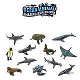 Peluche neonati-TianranRT 12PCS Simulazione di plastica Animali marini Mondo Puzzle giocattolo di apprendimento Figure Modello Creativo e carino,Come mostrato