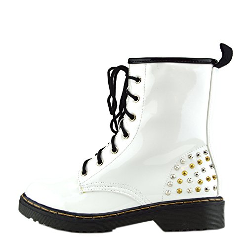 Kick Footwear - Ladies ankle retro combat boot womens lace funky vintage goth ankle boot Bianco Rotondo Borchie L-12085