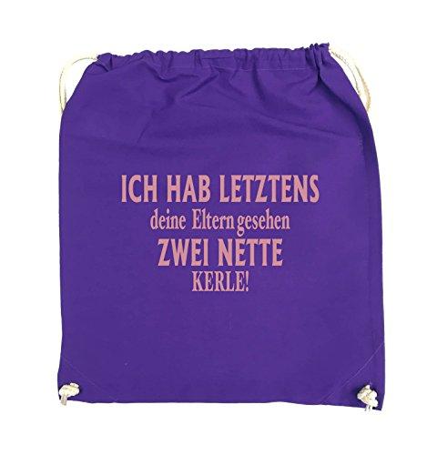 Comedy Bags - Ich hab letztens deine Eltern gesehen zwei nette Kerle! - Turnbeutel - 37x46cm - Farbe: Schwarz / Pink Lila / Rosa
