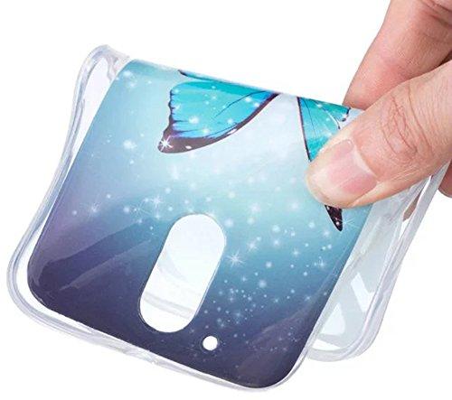 Nnopbeclik Für Motorola Moto G4 / G4 Plus Silikon Hülle, Durchsichtig Leuchtend TPU Clear Case Schutzhülle, Drucken Muster Ultra Slim Weich Flexible Tasche Etui, Luxus Bling Glitzer Stoßdämpfend Trans Schmetterling