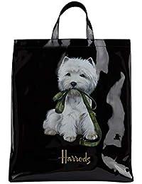 Harrods westie Cachorro Large Shopper bag – Bolso de mano negra de PVC – Cierre con