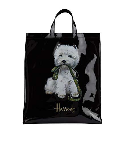 d4fd8ebda5 harrods Westie Puppy Large Shopper Bag - Borsa a mano nera in PVC -  chiusura con