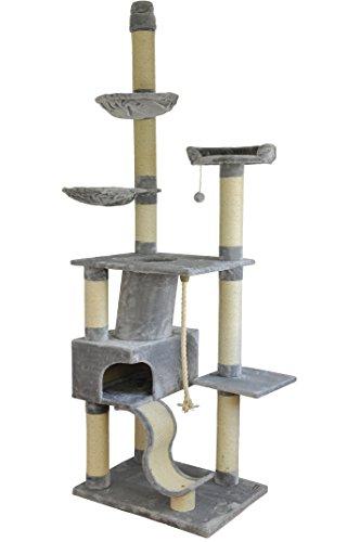nanook Kratzbaum (Grau) - Katzenbaum für große Katzen - Äußerst Stabiler XXL Katzenkratzbaum - deckenhoch