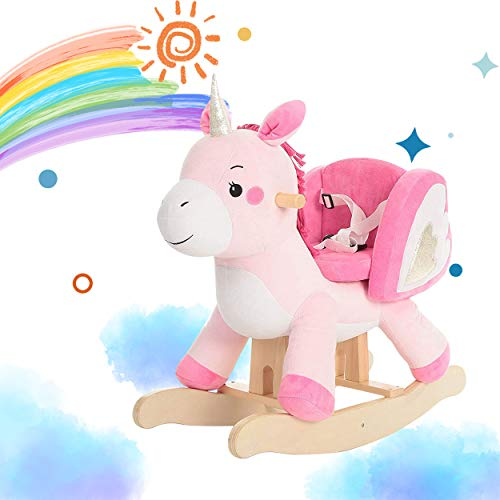 Wooden Rocking Horse for Baby 1-3 Years, Little Toddler Rocker, Plush Pink Unicorn Rocking Chair Toys