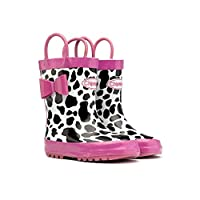 Chipmunks Wellington Boots, Waterproof Shelby Cow Pink, Black, White, Animal Prints