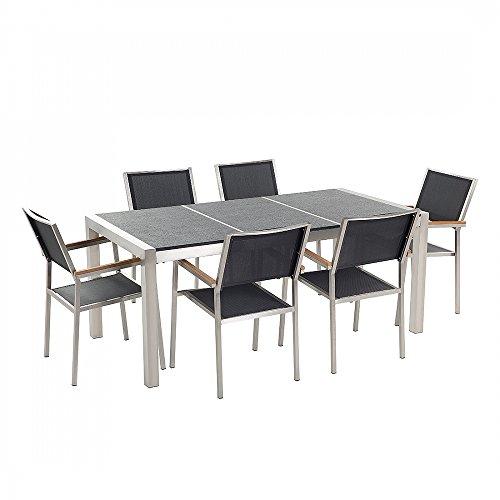 Gartenmöbel - Essgruppe - Granitgartentisch schwarz geflammt 180 cm mit sechs schwarzen Stühlen - GROSSETO