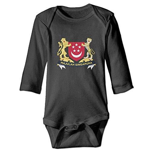 Neugeborenes Baby-Jungen-Mädchen-Bodysuit-Lange Hülse, Fashion Baby Infant COA of Singapore Long Sleeve Onesies Romper Navy (Schwarz Stoff Dusche Vorhang Liner)