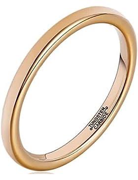 AnaZoz Damen Wolframkarbid Ringe Rund Rose Gold 2MM Trauringe Bandinge Eheringe für Frauen