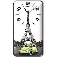 Paris Eyfel Kulesi Manzaralı Yeşil Vosvoslu Dikey Duvar Saati