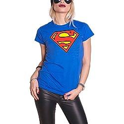 DC Comics Superman T Shirt Shield Logo nuevo Oficial De las mujeres Azul