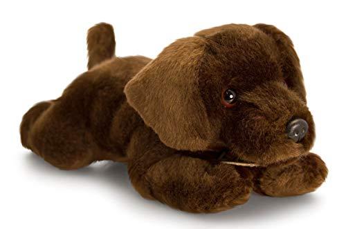 Lashuma Plüschtier Hund   Stofftier Welpe Basil   Kuscheltier Plüschhund Schoko Labrador liegend 25 cm (Welpe Ich Bin Kleiner Ein)