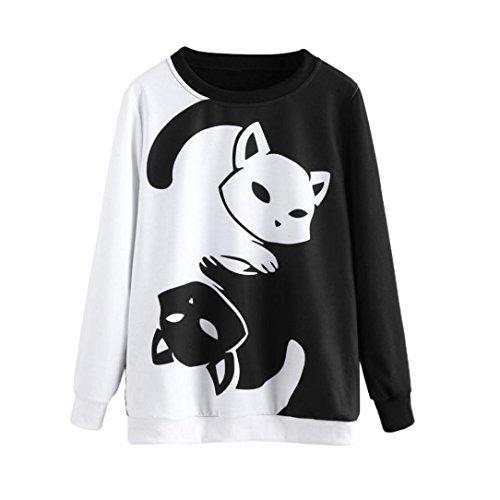 Frauen Katze Printing Pullover Langarm Shirt Sweatshirt Bluse Oberteile (M, Schwarz) (Katze, Einhorn Kostüm)