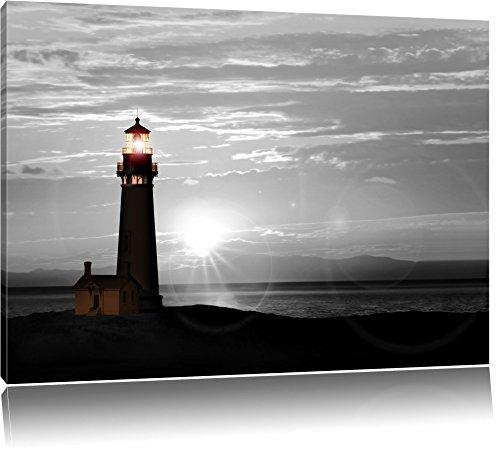 Großer Leuchtturm im Sonnenuntergang Schwarz/Weiß, Format: 100x70 auf Leinwand, XXL riesige Bilder fertig gerahmt mit Keilrahmen, Kunstdruck auf Wandbild mit Rahmen, günstiger als Gemälde oder Ölbild, kein Poster oder Plakat
