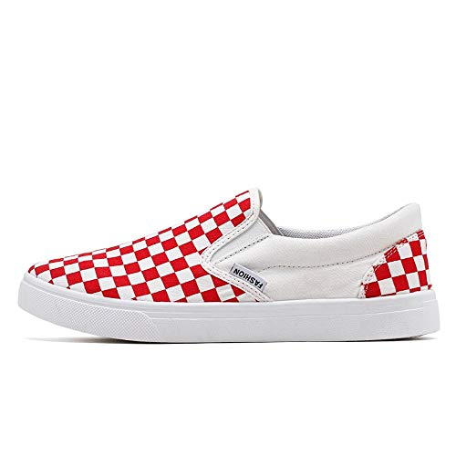 Casual Suede Shoe Mode Sneaker für Männer Canvas Material Sportschuhe Slip On Stil Runde Kappe Gittermuster Herren Sneaker (Color : White Red, Größe : 42 EU) -