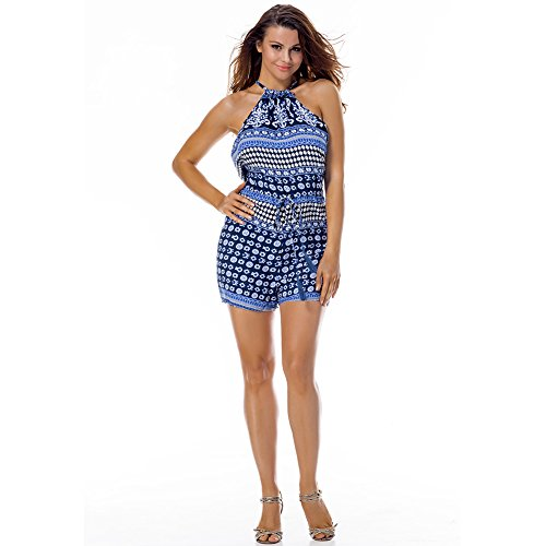 Lover-Beauty Damen Sommer Schulterfrei Romper Blumendruck Jumpsuits Overall Playsuit Blau