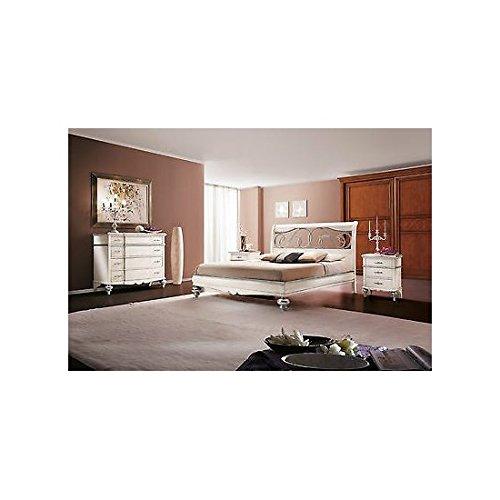 Chambre complète en bois massif composée d'un lit 2 places, d'une commode, d'une table de chevet et d'une armoire, blanc et ivoire