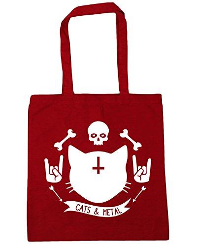 hippowarehouse-gatos-y-metal-tote-compras-bolsa-de-playa-42-cm-x38-cm-10-litros-rojo-classic-red-tal