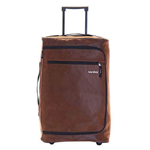 Karabar Leichtgewicht Handgepäck Trolley Koffer Bordgepäck Reisekoffer Superleicht Gepäck mit Rollen - 55 cm 2,3 kg 40 Liter auf 2 Rädern, Hudson Braun