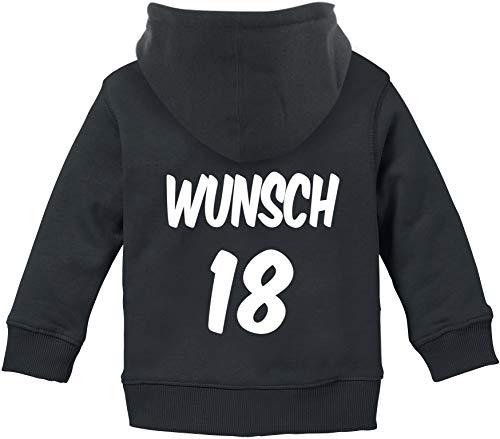 EZYshirt® Personalisierter Pullover Baby | Zip-Pullover | Kapuzenpullover | Hoodie mit Wunschname und Wunschnummer Baby Zip Hoodie