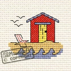 Mouseloft Mini Cross Stitch Kit - Beach Hut, By the Seaside Collection Cross-stitch-hut