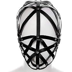 WYQ-BB No Acolchado Arnés PU Máscara de Cuero Negro Punk Máscara gótica Accesorios de la Fiesta