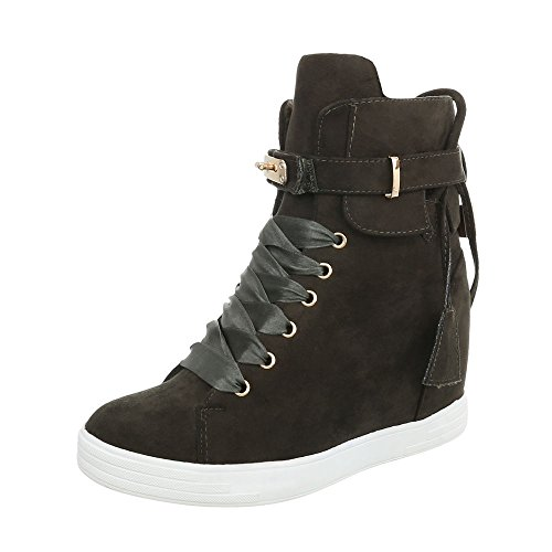 Ital-Design Sneakers High Damen-Schuhe Keilabsatz/Wedge Keilabsatz Schnürsenkel Freizeitschuhe Grün, Gr 40, Ls3002-