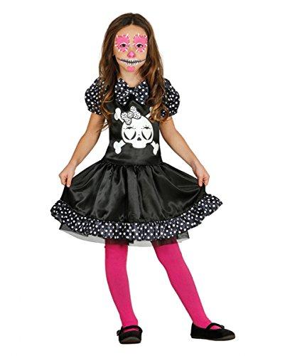 Süßes Miss Skeleton Totenkopf Mädchen Kostüm Kleid als Halloween Verkleidung (Skull Sugar Kostüm Süße)