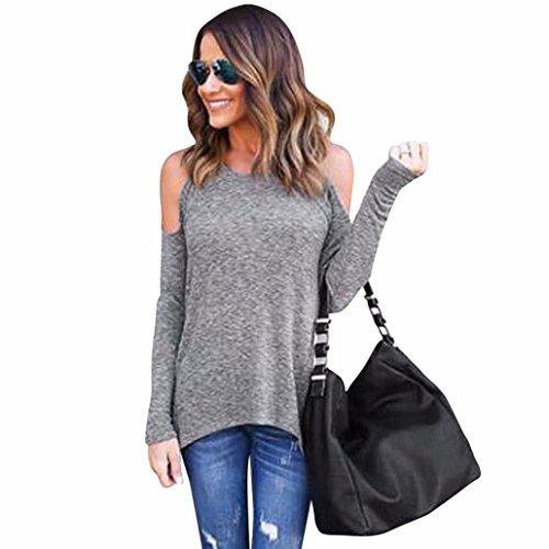 Sannysis Frauen Trägerlos Weg Vom Schulter langen Hülsen Blusen T-Shirt (M, Grau) (Rock Reißverschluss Mini Seitlich Mit)