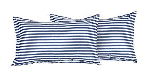Vintana Presents Cotton Blue Lining Print Pillow Cover