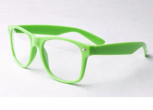 Grün Clear Lens Wayfarer Stil Nerd Geek Retro Hipster Brille Fancy Rave Party Kleid