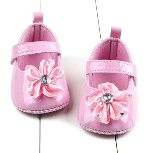 Clode® bambin fille douce Sole chaussures crèche fleurs baskets chaussures de bébé (Âge: 0 ~ 6M, Rose) Rose