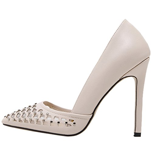 HooH Damen Pumps Stiletto Spitze Zehe Studded Mesh Sexy Pumps Slip On Beige 36 EU