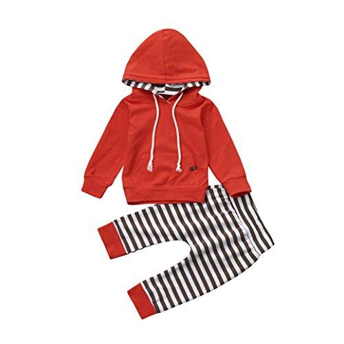 Neugeborenen Baby Unisex Bekleidung Set Longra Baby Hosen & Sweatshirt Sets für Mädchen Jungen Langarmshirt kapuzenpullover + Gestreift Hosen 2018 Babykleidung Set (90CM 12Monate, (Ideen C Partei Kostüme)