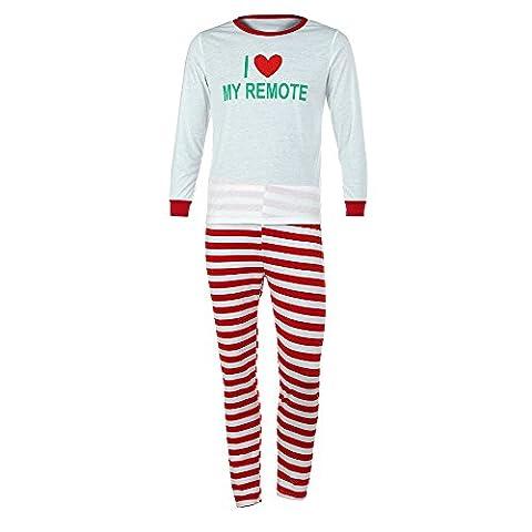 Gaddrt Baby & Frauen & Mann Familie Matching Weihnachtsbrief Pajamas Set Bluse + Santa Striped Hosen Outfits Kleider Set (S, Rot)