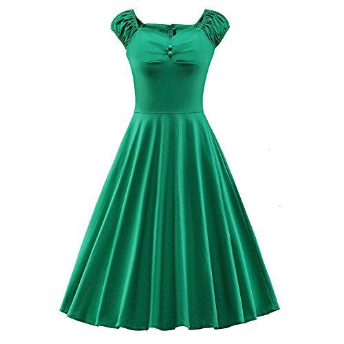 iLover 50s Rockabilly cru Audrey balancer robe de cocktail grande taille E062-Green