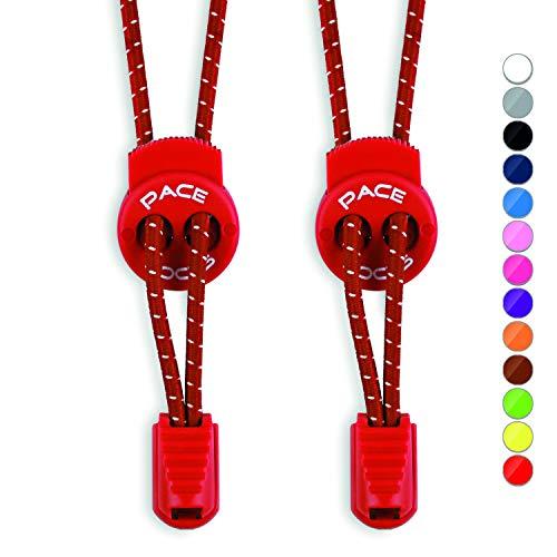 ALPHAPACE Pace Locks Schnürsenkel Rund Rot 120cm Sneaker Sneakers Weinrot Damen Weinrote Rote Roter Schnuersenkel Turnschuhe Schuhbänder Lang Schuhband Schnellschnürsystem Sportschuhe Schuhe Herren