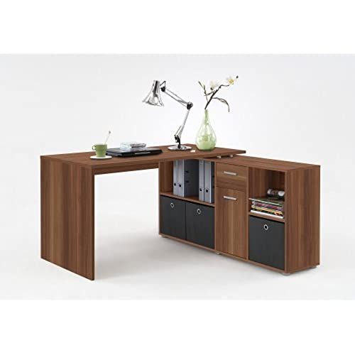 walnut office furniture. LEXA Corner Home Office Computer Desk Finished In Walnut(4 Different Build Combinations To Choose From) Supplied With 3 X Anthracite Coloured Canvas Storage Walnut Furniture