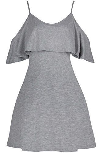 Oops Outlet Damen Schößchen Rüsche Rüsche Riemchen kalt ausgeschnitten Schulter Swing Minikleid - grau, S/M (UK 8/10) (Schößchen-kleid Ausgeschnitten)