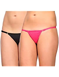 cf10efcb1a2 FIMS - Fashion is my style Women s Satin G-String Adjustable and Removable  Strap Thong