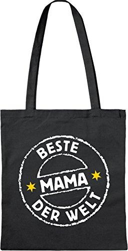 4853 Öko-Tasche lang schwarz: BESTE MAMA DER WELT - Original RAHMENLOS ® Motiv, Bio Einkaufstasche oder für Geschenke zu Weihnachten, Geburtstag usw. Baumwolltasche/Baumwollbeutel mit langem Henkel