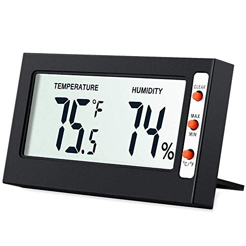 Criacr LCD Digital Temperature Humidity Meter Thermometer, Mini Digital Thermometer Hygrometer and Humidity Gauge -Accurate Readings -(°C/°F) -Min/Max Records for Greenhouse, Home, Office (Black)