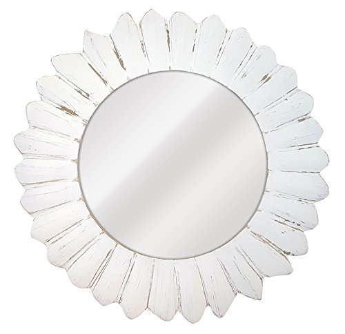 La Fabrica del Cuadro Espejo Decorativo de Pared, Redondo Blanco, Modelo Sorolla - Medida Exterior 80x80 cm, Medida de Espejo 50x50 cm (Blanco Decapé)