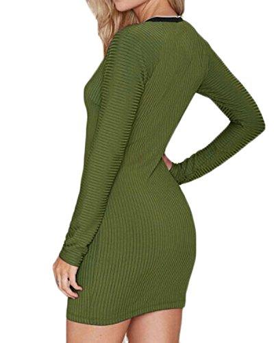 ZNZEA Femmes Sexy Slim Hanche Paquet Étape Zipper Moitié Manches Longues Robe Vert