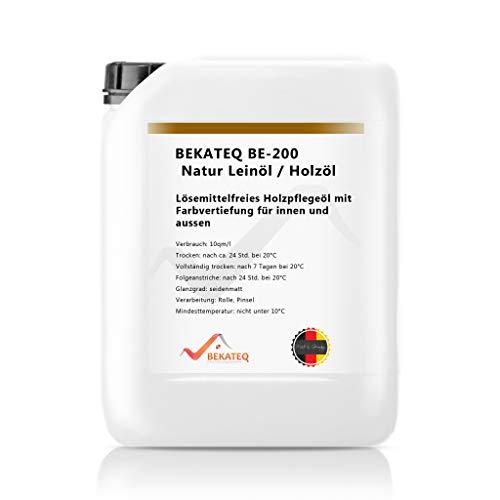 Lack Farblos Holz (BEKATEQ BE-200 Natur Leinöl, 5l farblos, Holzöl, Holzschutz, Holzpflegeöl für innen und außen)