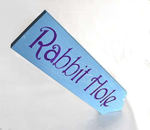 Schild mit Kaninchenlochpf, Alice im Wunderland, Rasen-Dekoration, Holzschild, Geschenk für Sie -