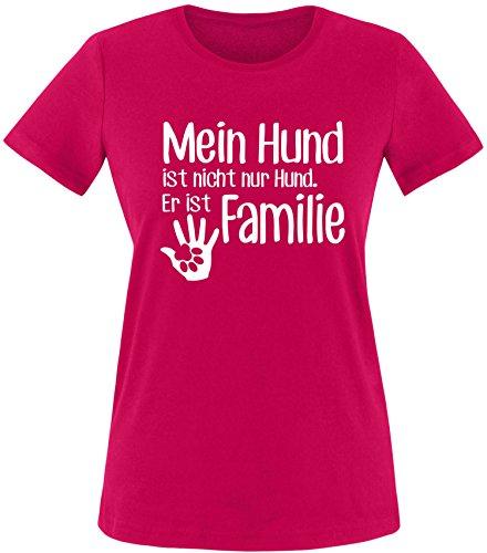 ezyshirt® Mein Hund ist nicht nur Hund! Er ist Familie Damen Rundhals T-Shirt Sorbet/Weiss