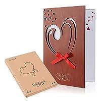 Unomor Love Card Handmade Imitation Wood Anniversary Greeting Card for Mum, Birthdays, Weddings with Gift Box