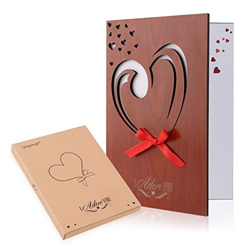 Unomor Valentinstags karte Valentinstag Geschenk Liebes Karten Holzimitat Gruß Karte für Valentinstag, Jahrestag, Geburtstag, Hochzeiten