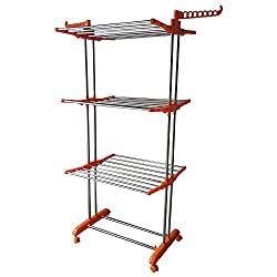 Hi Quality Stainless Steel Clothes Drying Stand 3 Tier, 26 Rods, 14 hanger Slots Imported Cloth Drying Rack (Orange)
